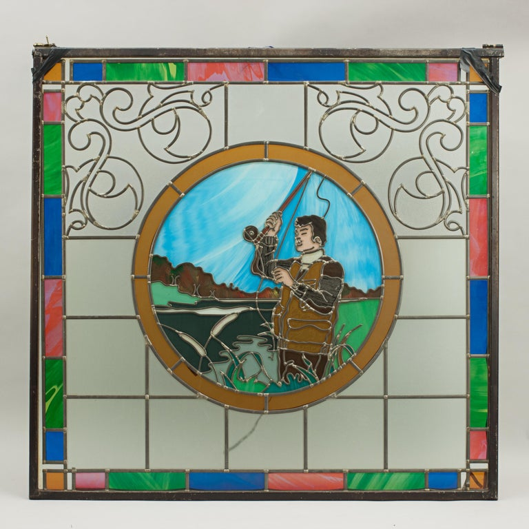 Vintage Sporting Stained Glass Lead Windows, Football, Fishing, Golf & Athletics For Sale 9