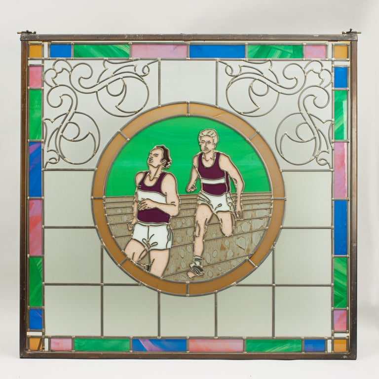 Vintage Sporting Stained Glass Lead Windows, Football, Fishing, Golf & Athletics For Sale 10