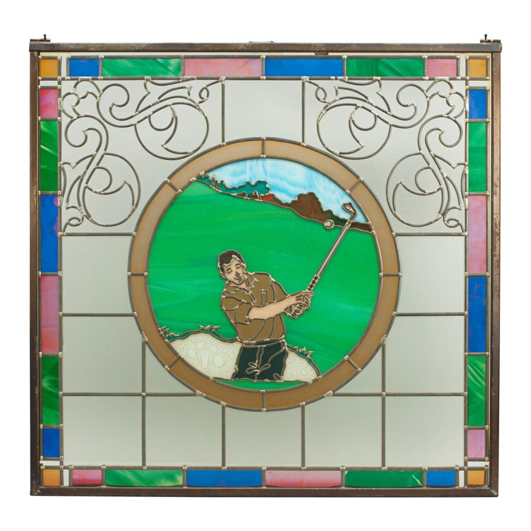 Sporting Art Vintage Sporting Stained Glass Lead Windows, Football, Fishing, Golf & Athletics For Sale