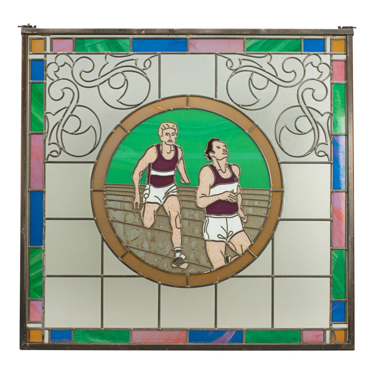 Vintage Sporting Stained Glass Lead Windows, Football, Fishing, Golf & Athletics In Good Condition For Sale In Oxfordshire, GB