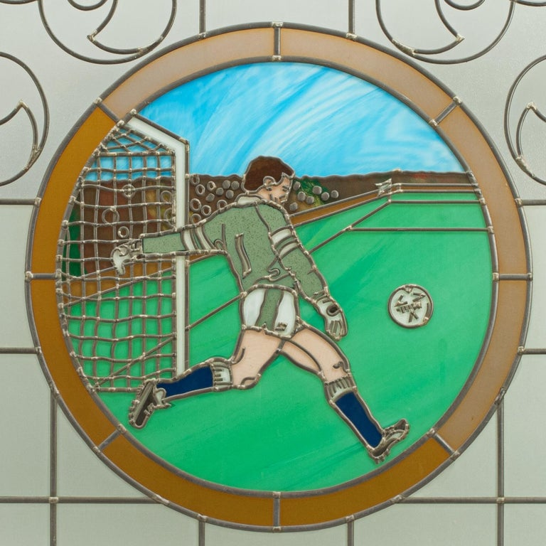 Late 20th Century Vintage Sporting Stained Glass Lead Windows, Football, Fishing, Golf & Athletics For Sale