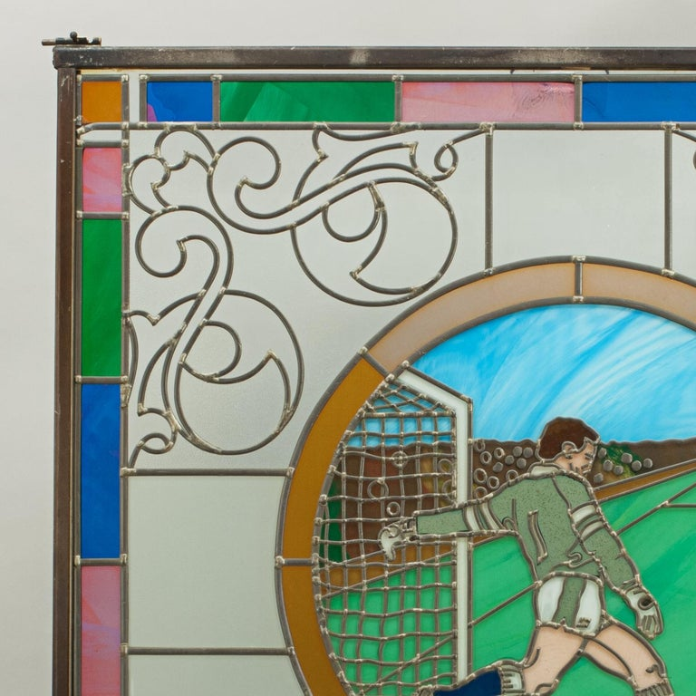 Vintage Sporting Stained Glass Lead Windows, Football, Fishing, Golf & Athletics For Sale 1