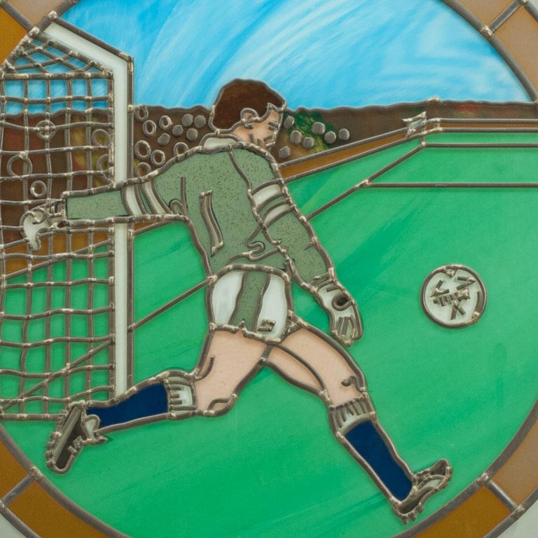 Vintage Sporting Stained Glass Lead Windows, Football, Fishing, Golf & Athletics For Sale 2