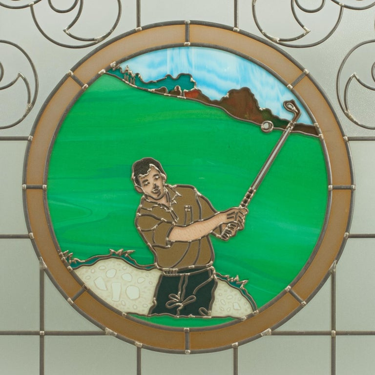 Vintage Sporting Stained Glass Lead Windows, Football, Fishing, Golf & Athletics For Sale 3