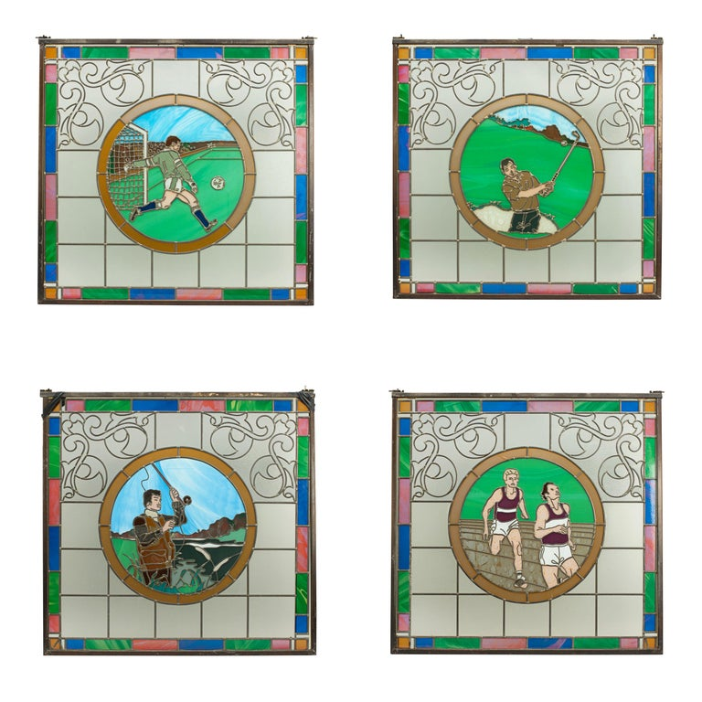 Vintage Sporting Stained Glass Lead Windows, Football, Fishing, Golf & Athletics For Sale