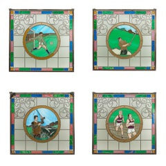 Vintage Sporting Stained Glass Lead Windows, Football, Fishing, Golf & Athletics