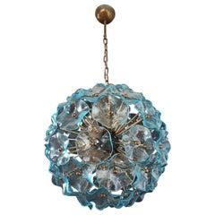 Vintage Sputnik Italian crystal chandelier, 51 blue glasses