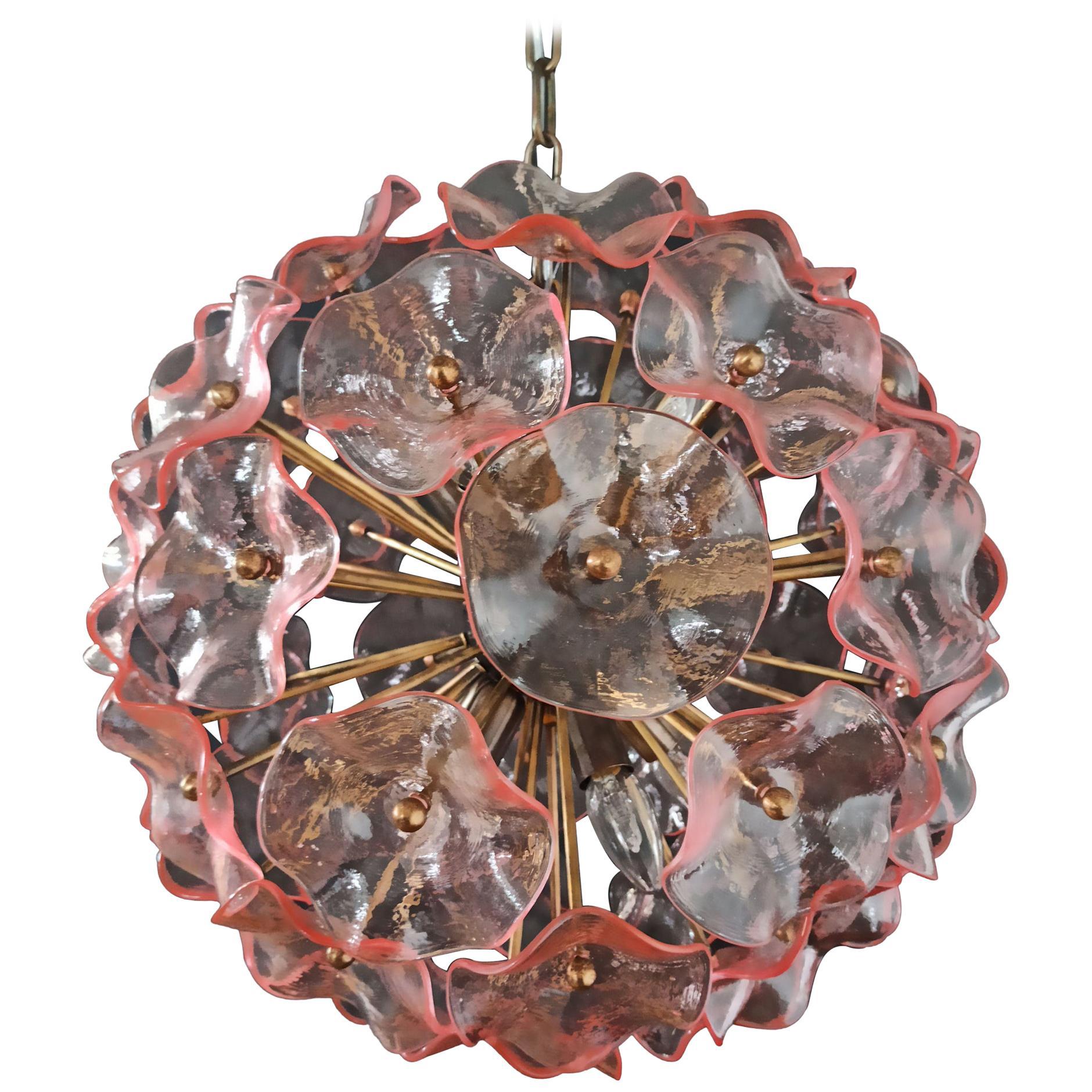 Vintage Sputnik Italian Crystal Chandelier, 51 Pink Glasses