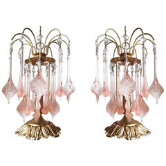 Vintage Sputnik Pink Cascade Italian Murano Venini Glass Gilt Table Lamps, Pair
