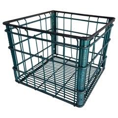 Vintage Square American Metal Wire Milk Crate
