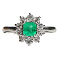 Vintage Square Cut .39 Carat Emerald Diamond Platinum Halo Ring