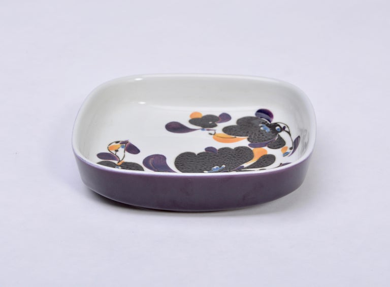 Danish Mid-Century Modern square Faience plate by Ivan Weiss for Royal Copenhagen For Sale