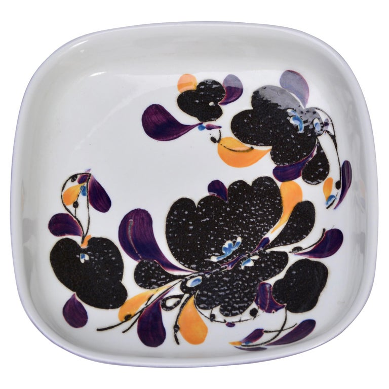 Mid-Century Modern square Faience plate by Ivan Weiss for Royal Copenhagen For Sale