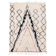 Vintage Square Ivory Azilal Moroccan Berber Rug with Stacked Niches