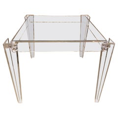 Vintage Square Lucite Peg Game Dining Table Tapered Legs Glass Top
