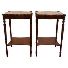 Vintage Square Mahogany Wood Side Tables, Pair