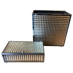 Vintage Square Mirrored Waste Paper Basket and Vanity Box Set