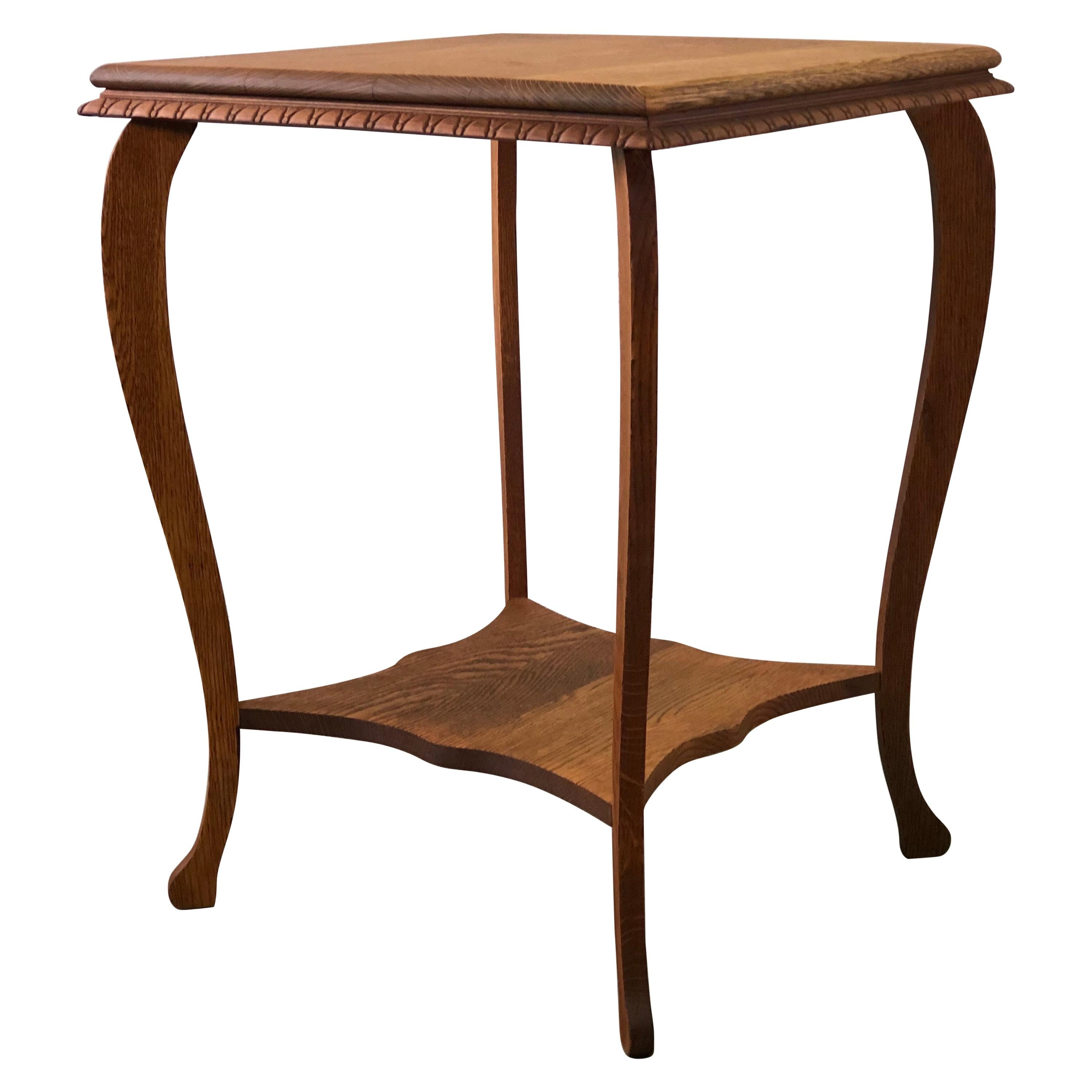 Vintage Square Oak Wood Side Table with Curved Legs