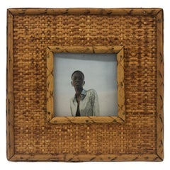 Vintage Square Rattan and Bamboo Picture Frame