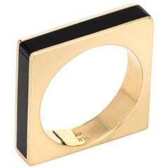 Vintage Square Ring 14 Karat Yellow Gold Geometric Stacking Band Black Onyx