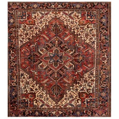 Vintage Square Rust and Blue Persian Heriz Carpet