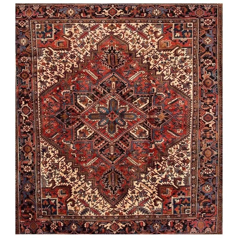 Vintage Square Rust and Blue Persian Heriz Carpet