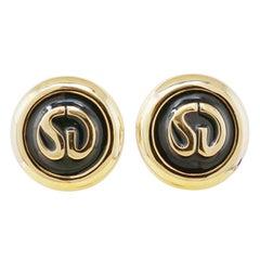 Vintage St. John Logo Enamel Button Earrings by St. John, 1980s