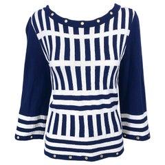 Vintage St. John Medium / Large Navy Blue + White Striped Nautical Knit Shirt