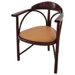Vintage Stained Beech and Leather Three Legged Armchair Rondo, Hungary