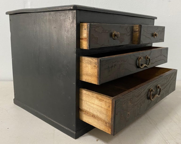 American Vintage Stained Pine Miniature Chest, circa 1930 For Sale