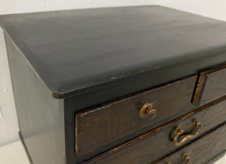 Hand-Crafted Vintage Stained Pine Miniature Chest, circa 1930 For Sale