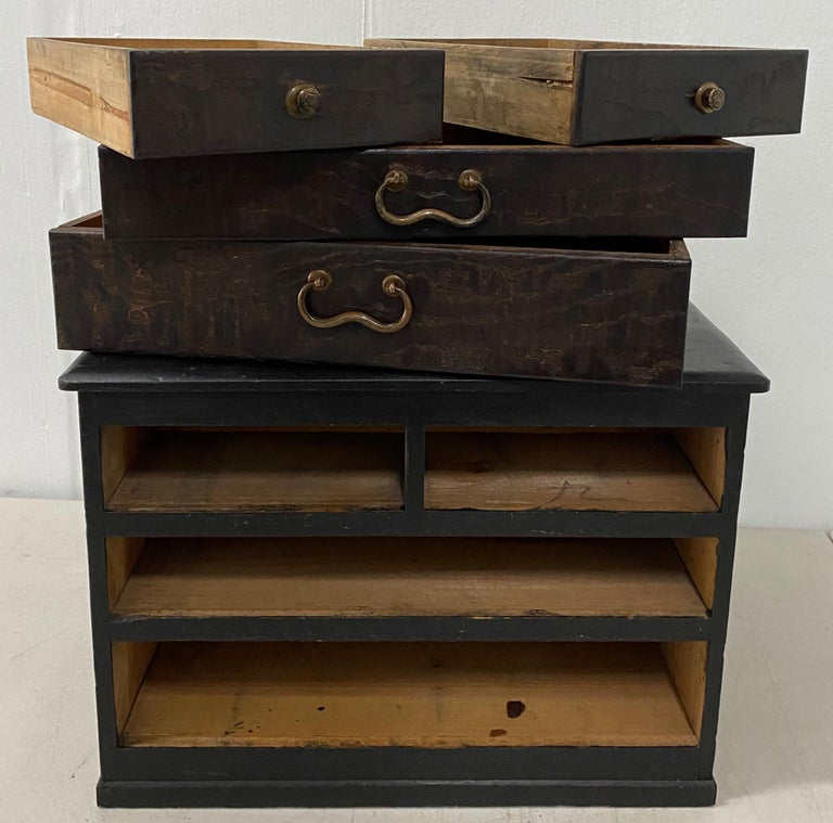 20th Century Vintage Stained Pine Miniature Chest, circa 1930 For Sale