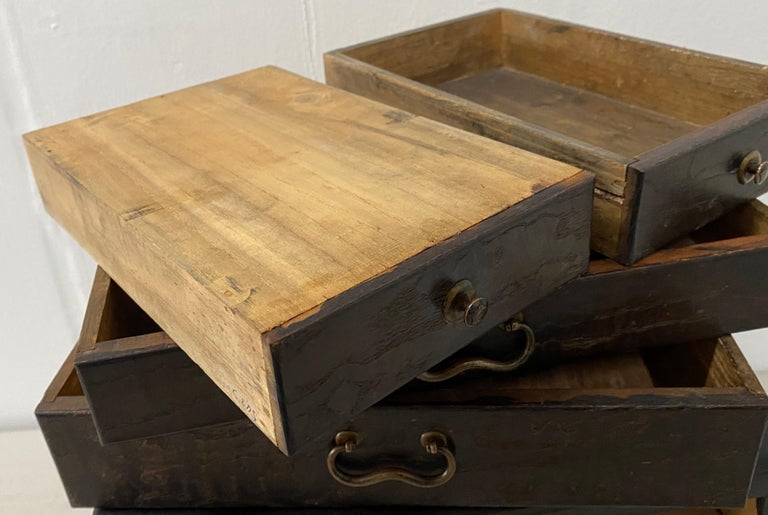Vintage Stained Pine Miniature Chest, circa 1930 For Sale 1