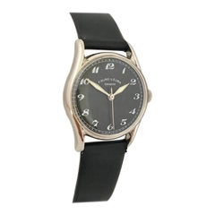 Vintage Stainless Steel 1960s Favre-Leuba Black Dial Mechanical Watch