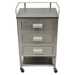 Vintage Stainless Steel 3 Drawer Rolling Medical Dental Cabinet Nightstand Table
