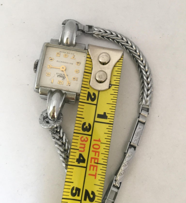 Vintage Stainless Steel Back Ladies Mechanical Watch For Sale 7