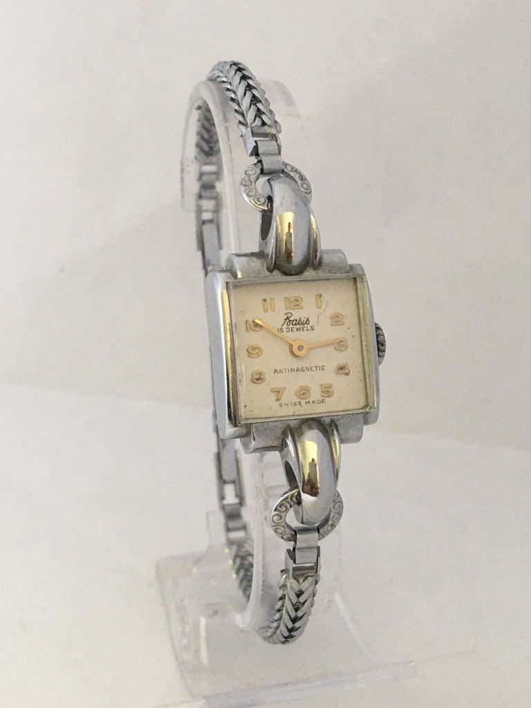 Vintage Stainless Steel Back Ladies Mechanical Watch For Sale 8