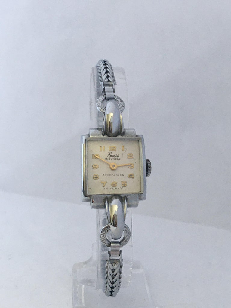 Vintage Stainless Steel Back Ladies Mechanical Watch For Sale 2