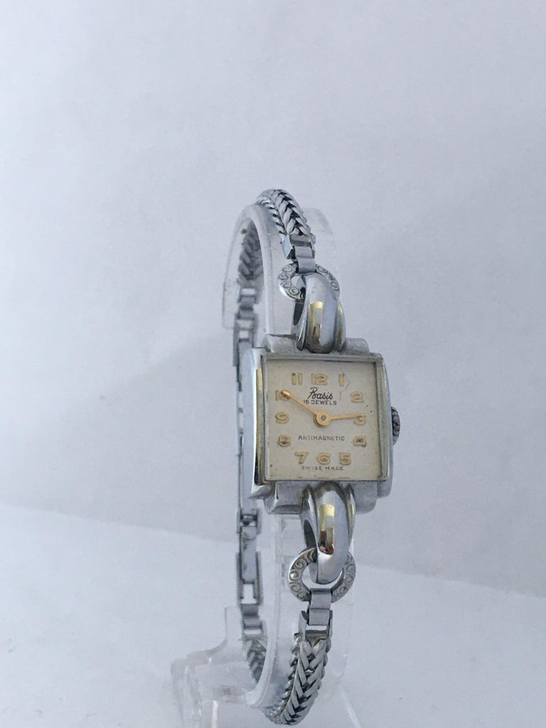 Vintage Stainless Steel Back Ladies Mechanical Watch For Sale 3