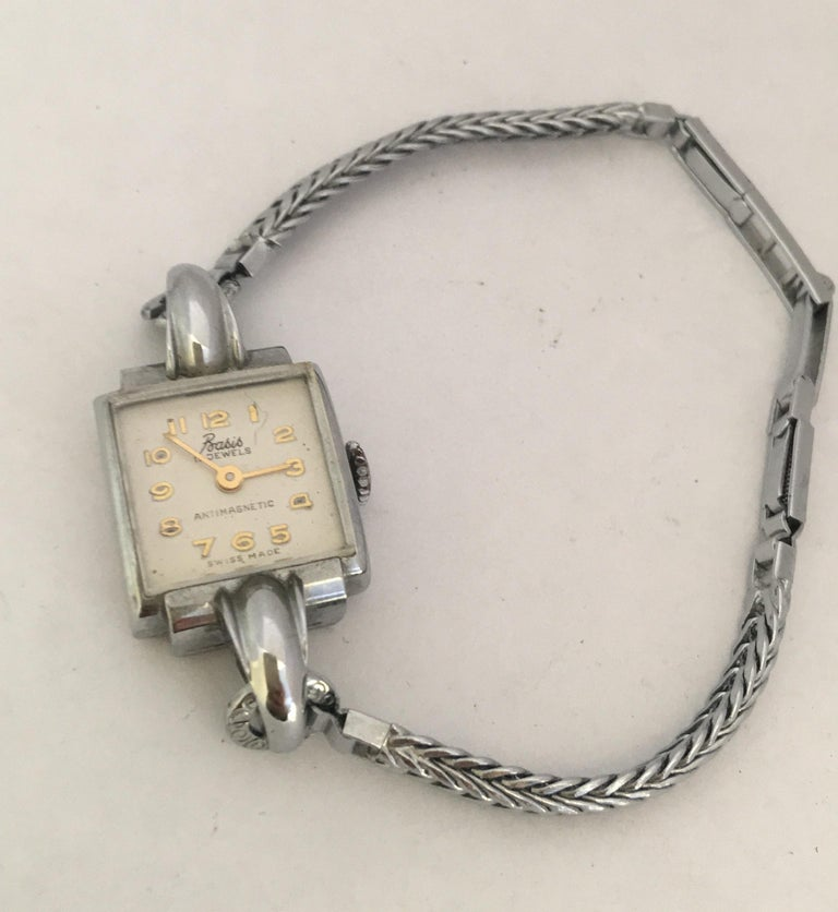 Vintage Stainless Steel Back Ladies Mechanical Watch For Sale 4