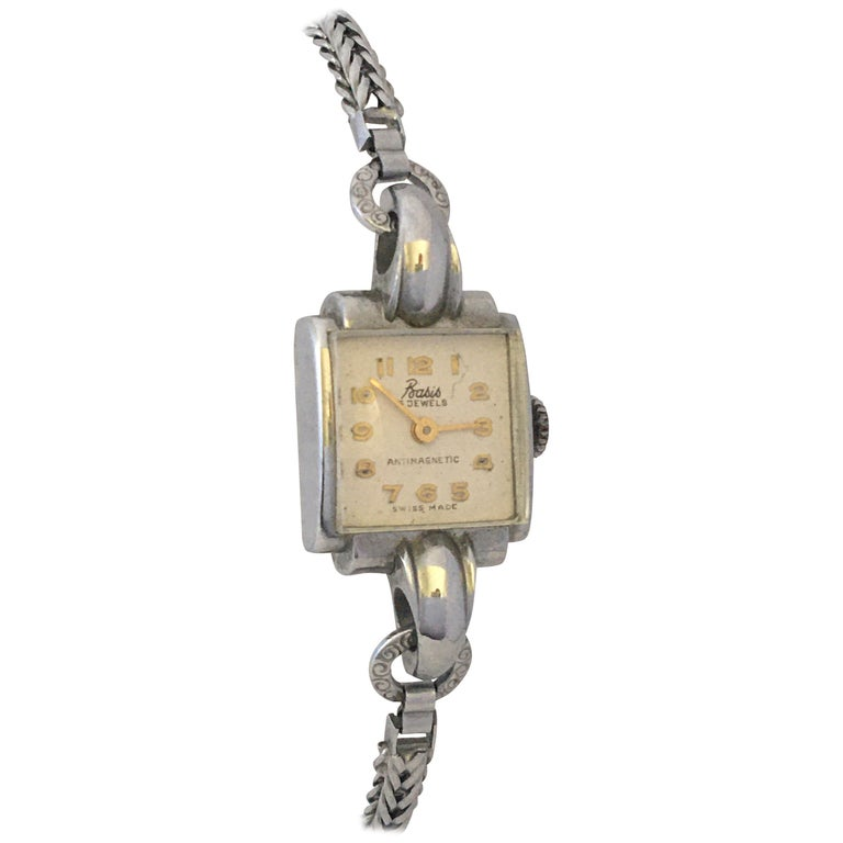 Vintage Stainless Steel Back Ladies Mechanical Watch For Sale