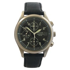 Vintage Stainless Steel black dial Pulsar Chronograph 100M Watch