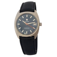 Vintage Stainless Steel Blue Dial Mechanical Roamer Searock Watch