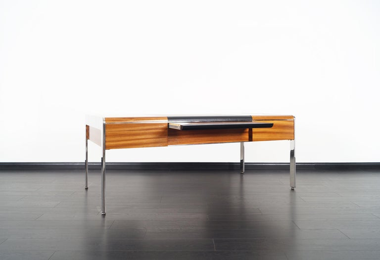 Vintage Stainless Steel Executive Desk by Richard W. Thompson For Sale 5
