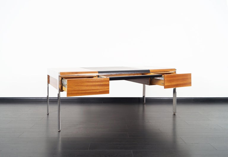 Mid-Century Modern Vintage Stainless Steel Executive Desk by Richard W. Thompson For Sale