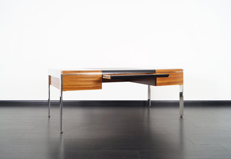 American Vintage Stainless Steel Executive Desk by Richard W. Thompson For Sale
