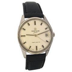 Vintage Stainless Steel Favre-Leuba Geneve Twin Matic Watch