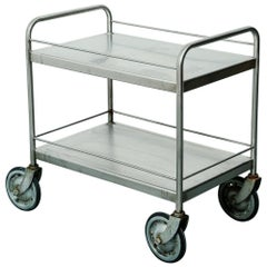 Vintage Stainless Steel Industrial Bar or Serving Cart