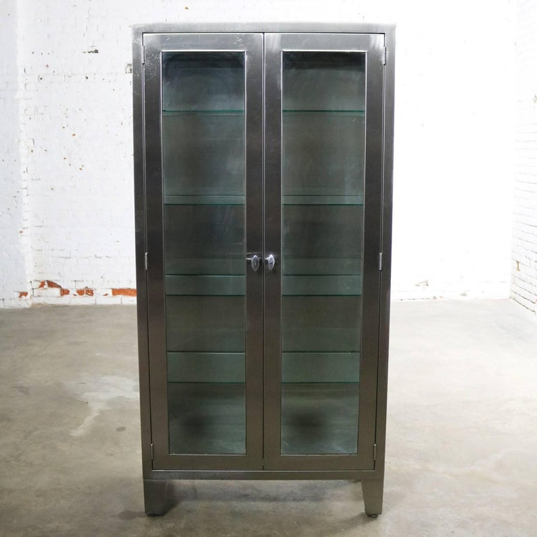 Vintage Stainless Steel Industrial Display Apothecary Medical Cabinet Glass Door At 1stdibs