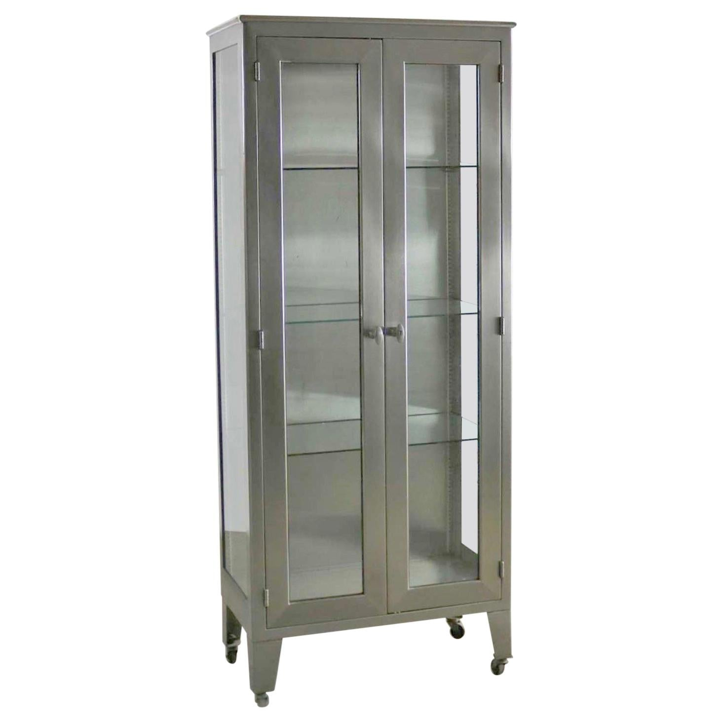 vintage stainless steel industrial display apothecary medical rh 1stdibs com stainless steel medical cabinets vintage stainless steel medical storage cabinets